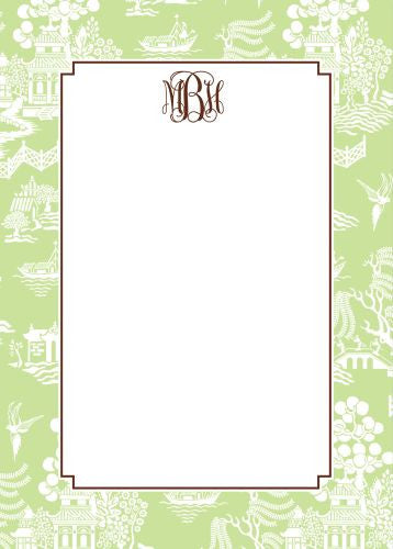 Chinoiserie Green Flat Notecard