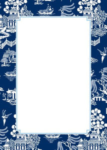 Chinoiserie Navy Flat Notecard