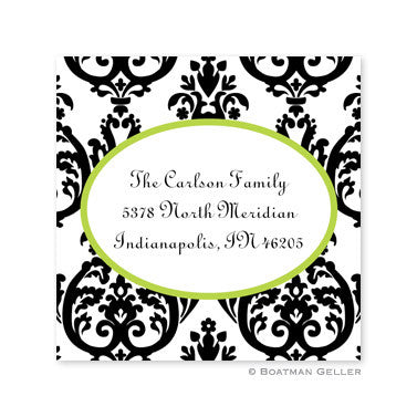 Madison Damask White with Black Stickers