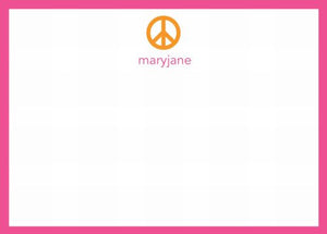 Peace Sign Orange Flat Notecard