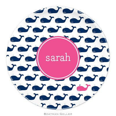 Whale Repeat Navy Melamine Plate