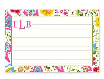 Monogrammed Bright Floral Recipe Cards