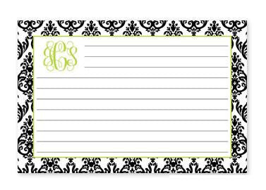 Monogrammed Madison White with Black Recipe Cards