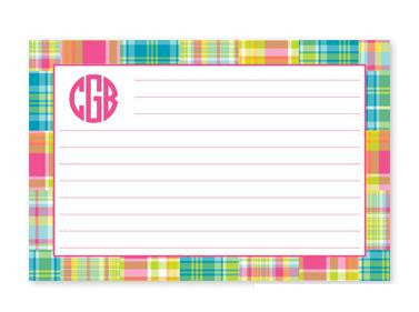 Monogrammed Bright Madras Patch Recipe Cards