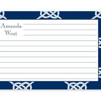 Monogrammed Navy Nautical Knot Recipe Cards
