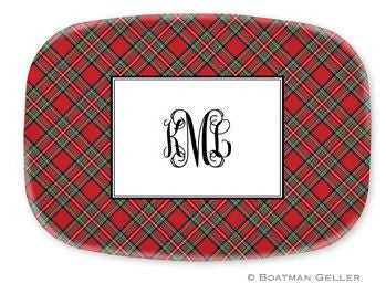 Red Plaid Monogrammed Melamine Platter