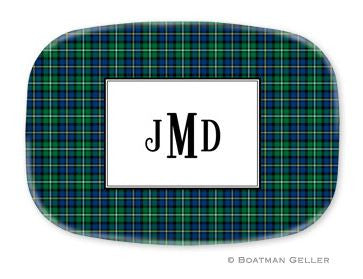 Black Watch Plaid Personalized Melamine Platter