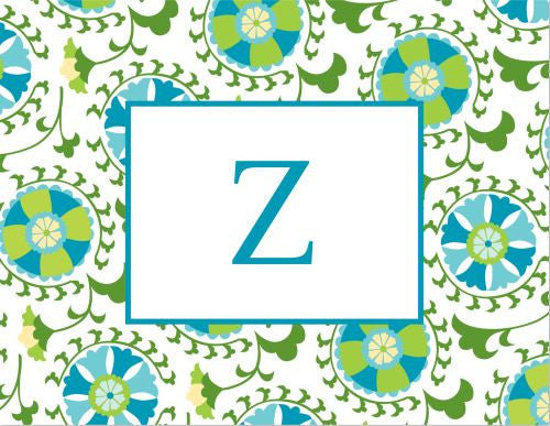 Suzani Teal Foldover Note