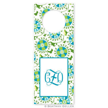 Suzani Teal Wine Tags