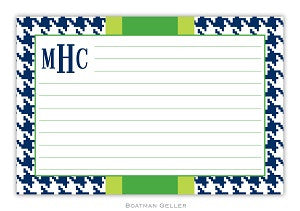 Alex Houndstooth Navy Recipe Card