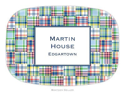 Madras Patch Blue Melamine Platter
