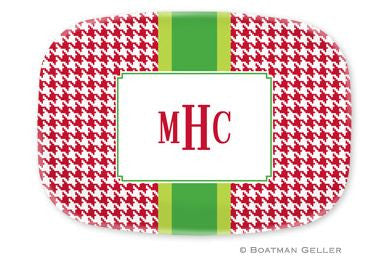 Alex Houndstooth Red Melamine Platter