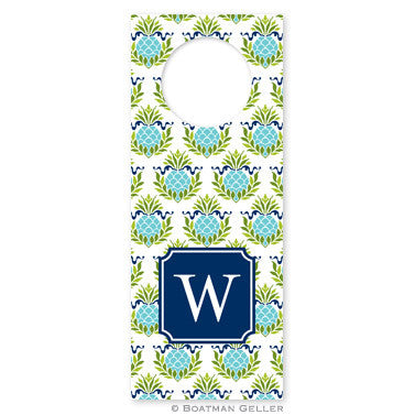 Pineapple Repeat Teal Wine Tag