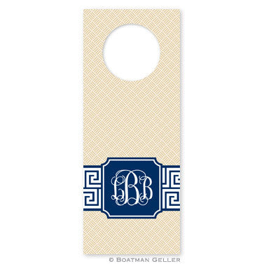 Greek Key Band Navy Wine Tags