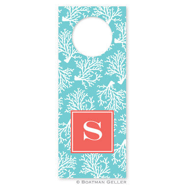 Coral Repeat Teal Wine Tags