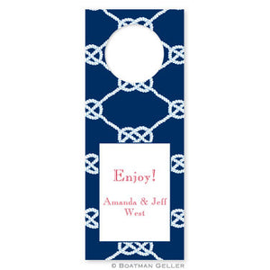 Nautical Knot Navy Wine Tags