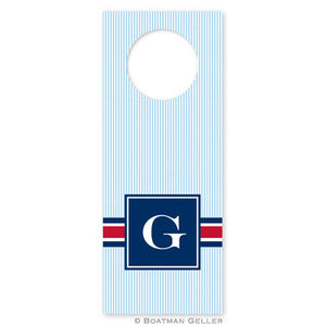 Seersucker Band Red & Navy Wine Tags