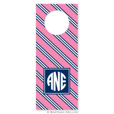 Repp Tie Pink & Navy Wine Tags