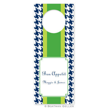 Alex Houndstooth Navy Wine Tags