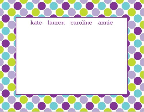 Big Dots Purple Flat Notecard