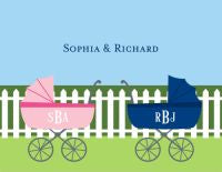 Charming Pram Folded Notes (Boy, Girl, or Twins)