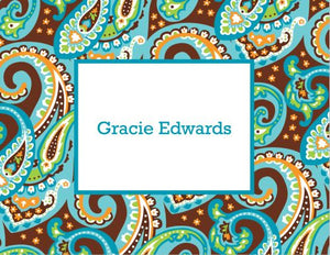 Ellie Paisley Turquoise and Brown Foldover Note