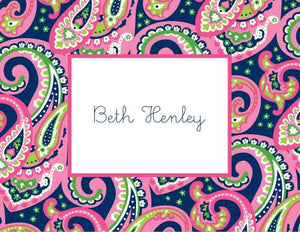 Ellie Paisley Raspberry and Navy Foldover Note