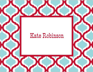 Kate Red and Teal Foldover Note