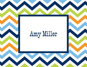 Chevron Blue, Orange and Lime Foldover Note