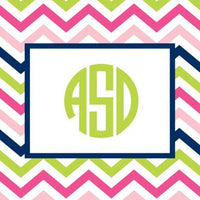 Chevron Pink, Navy and Lime Foldover Note