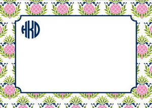 Pineapple Repeat Pink Flat Notecard