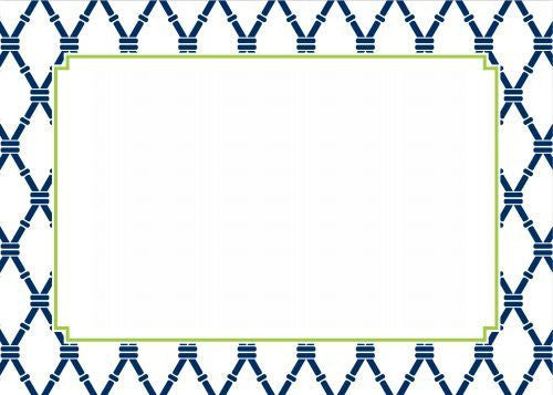 Bamboo Navy and Green Flat Notecard