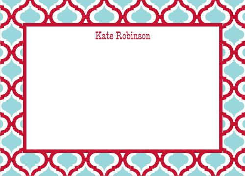 Kate Red and Teal Flat Notecard