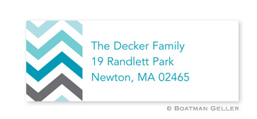 Chevron Ombre Teal Address Label