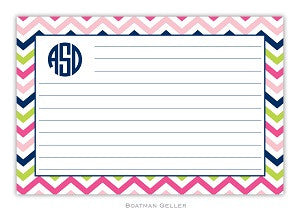 Chevron Pink, Navy, & Lime Recipe Card