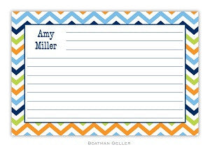 Chevron Blue, Orange, & Lime Recipe Card