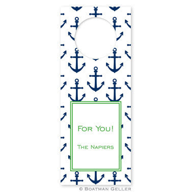 Anchors Navy Wine Tags
