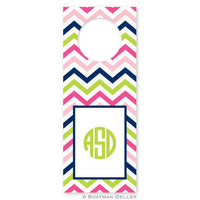 Chevron Pink, Navy, & Lime Wine Tags