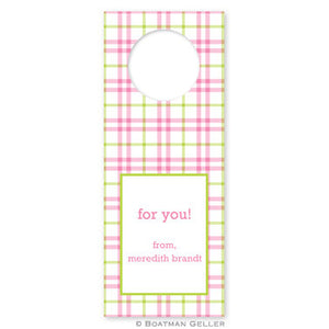 Miller Check Pink & Green Wine Tags