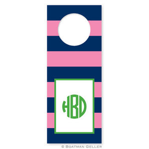 Rugby Navy & Pink Wine Tags