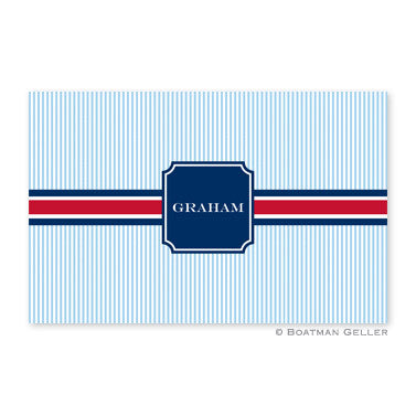 Seersucker Band Red & Navy Placemat