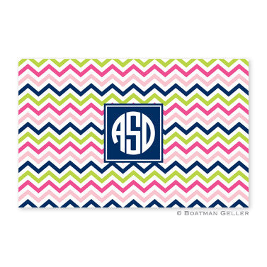 Chevron Pink, Navy, & Lime Placemat