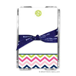 Chevron Pink, Navy, & Lime Notepad