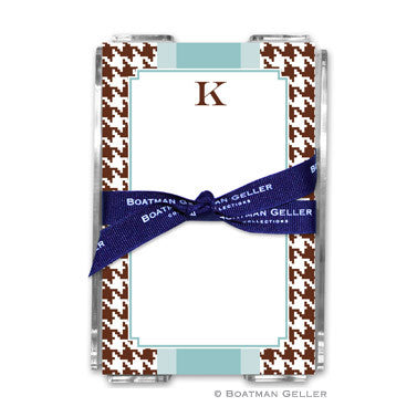 Alex Houndstooth Chocolate Notepad