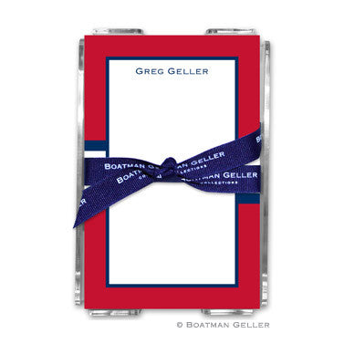 Stripe Red & Navy Notepad