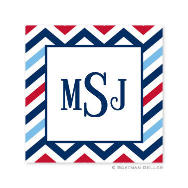 Chevron Blue & Red Stickers
