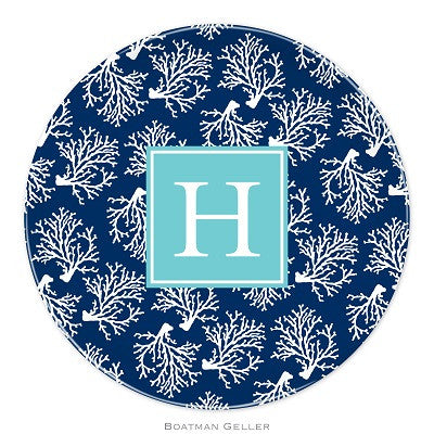 Coral Repeat Navy Melamine Plate