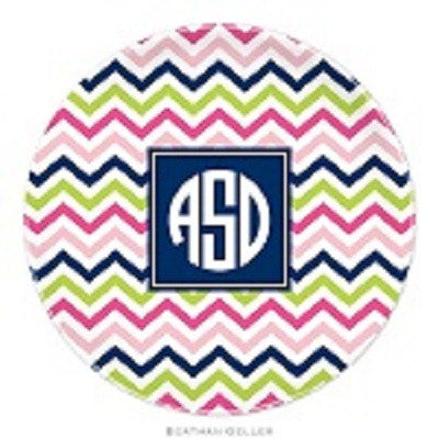 Chevron Pink, Navy, & Lime Melamine Plate