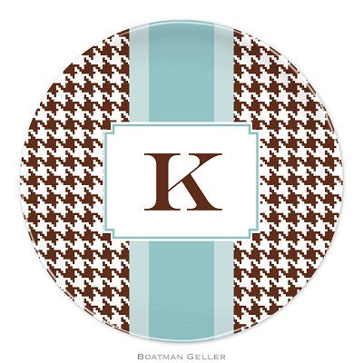 Alex Houndstooth Chocolate Melamine Plate