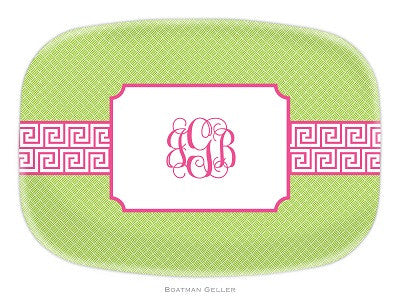 Greek Key Band Pink Melamine Platter